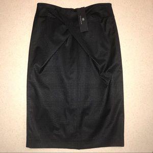 BR Monogram Plaid Patterned Pencil Skirt Black 4
